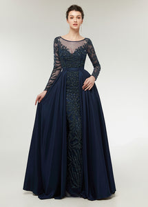 Chiffon  Scoop Neck Long Sleeves Beading Evening Dresses