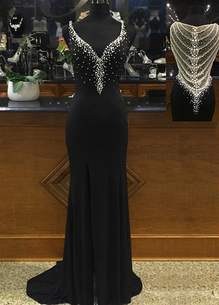 Chiffon Beading Sleeveless V-neck Evening Dresses 2019