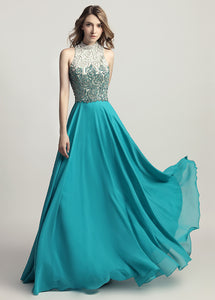 A-Line/Princess Chiffon Scoop Neck Appliques Lace Evening Dresses