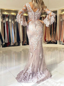 Trumpet/Mermaid Floor-Length Lace Long Sleeves Evening Dresses