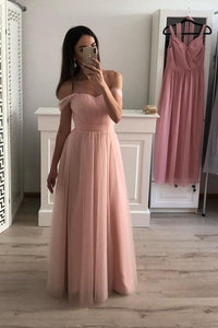 A-Line/Princess Tulle Off-the-Shoulder Evening Dresses