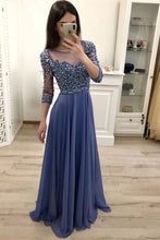 3/4 Sleeves Scoop Neck Chiffon  Beading Evening Dresses