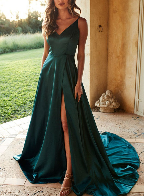 V-neck Spaghetti Straps Sleeveless Satin Prom Dresses