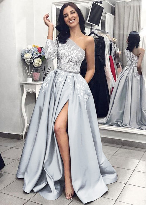 One-Shoulder Appliques Lace Floor-Length Prom Dresses