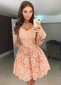 3/4 Sleeves Lace Short Evening Dresses