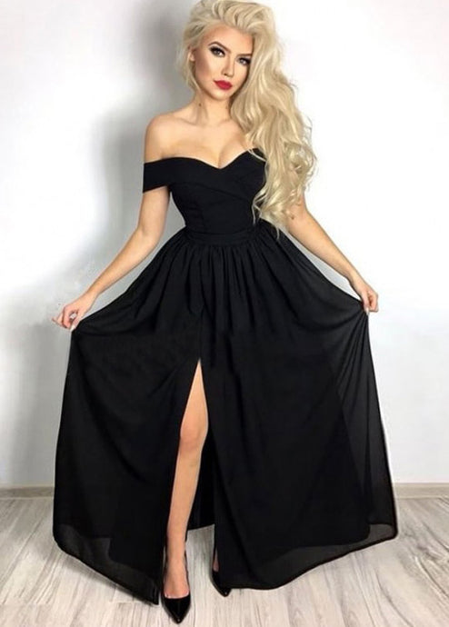 Black Chiffon Off-the-Shoulder Evening Dresses