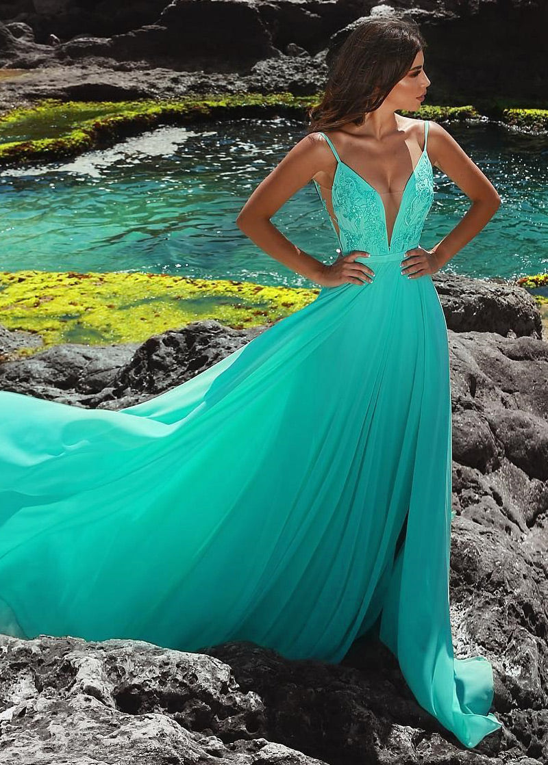 Chiffon Spaghetti Straps Sleeveless Embroidered Prom Dresses