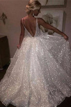 A-Line/Princess Spaghetti Straps Sequined Bridal Dress