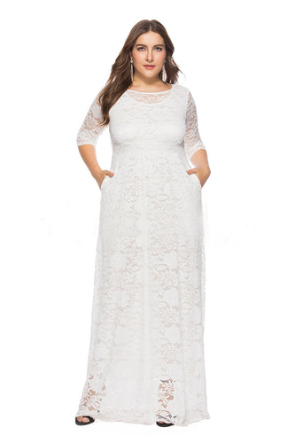 1/2 Sleeves  Scoop Neck  Lace Long Plus Size Mother of the Bride Dresses