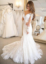Trumpet/Mermaid Long Sleeves Lace Boho Bridal Wedding Dresses