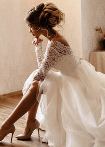 Lace Long Sleeves Open Back Floor-Length Wedding Dresses