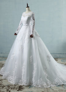 Long Sleeves Scoop Neck  Lace Wedding Dresses