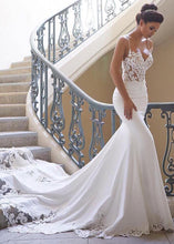 Satin Spaghetti Straps Mermaid Wedding Dresses With Lace Appliques