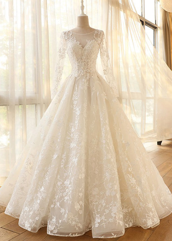 Long Sleeves Tulle Appliques Lace Wedding Dresses