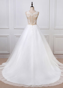 Ball Tulle Sleeveless Appliques Lace Wedding Dresses