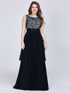 Chiffon Scoop Neck Sleeveless Plus Size Prom Dresses