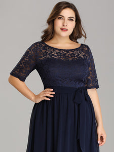 Tulle 1/2 Sleeves Plus Size Mother of the Bride Dresses