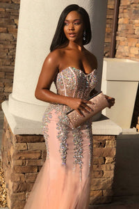 Trumpet/Mermaid Sweetheart Tulle Beading African American Prom Dresses 2019