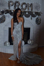Sexy Sweetheart Sweep Train Sequined Prom Dresses