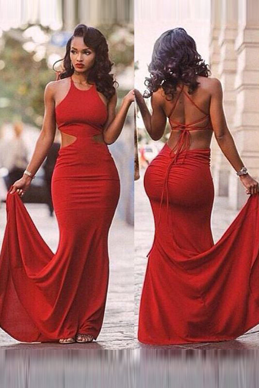New Red Sexy Satin Halter Open Back Prom Dresses