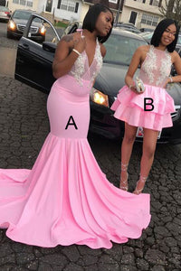 Trumpet/Mermaid Satin Sleeveless Prom Dresses with Appliques Lace - Short B