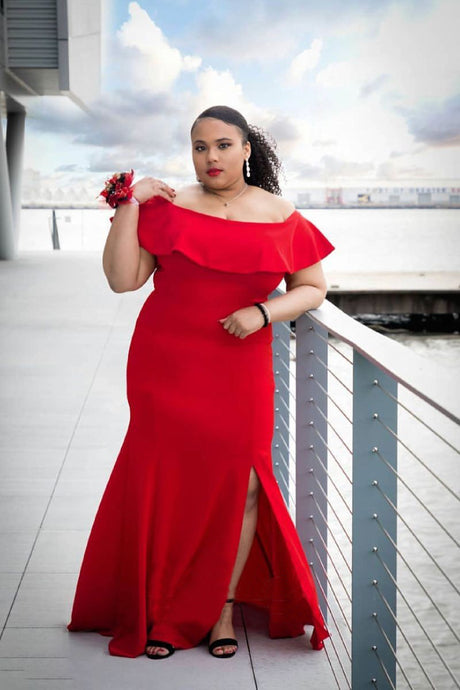 A-Line/Princess  Off-the-Shoulder Plus Size Dresses