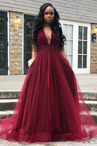 Burgundy A-Line/Princess Floor-Length Tulle Prom Dresses