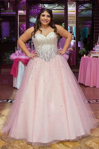 A-Line/Princess Sweetheart Tulle Floor-Length Plus Size  Prom Dresses