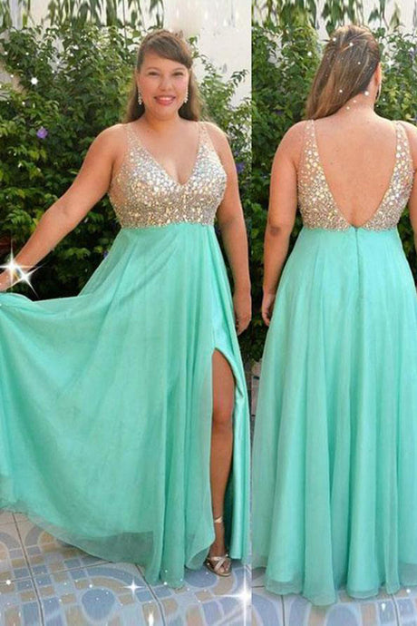 Floor-Length Chiffon V-neck Sequined  Plus Size Dresses