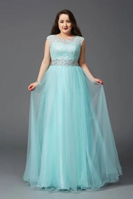 A-Line/Princess  Lace Scoop Neck Plus Size Dresses