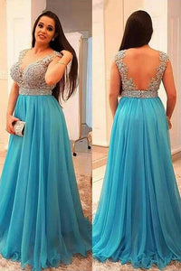 Open Back Tulle Floor-Length Plus Size Prom Dresses with Appliques Lace
