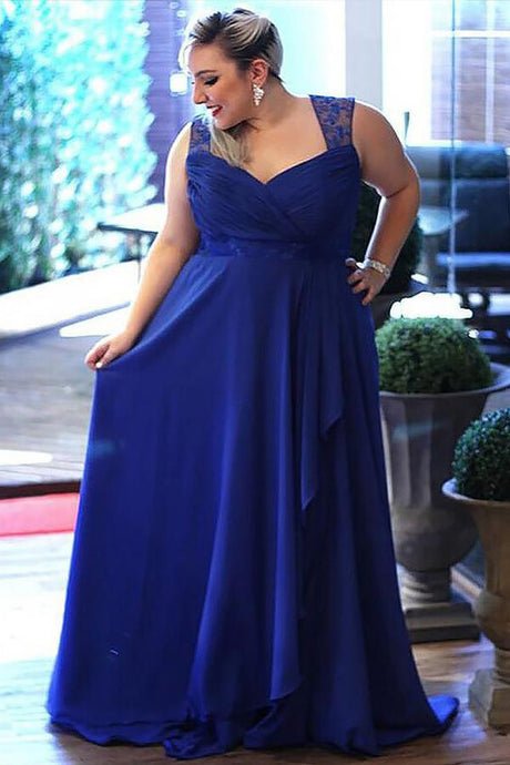 Regular Straps Chiffon Sleeveless Plus Size  Prom Dresses