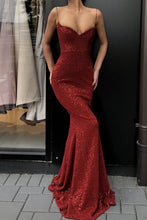 Trumpet/Mermaid Spaghetti Straps Sweetheart  Sequined Prom Dresses
