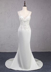 Trumpet/Mermaid Beading Satin Wedding Dresses