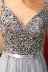 Spaghetti Straps Tulle Beading Prom Dresses