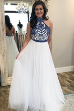 Halter Scoop Neck Tulle Floor-Length Prom Dresses