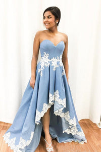 Sweetheart Asymmetrical Appliques Lace  Prom Dresses