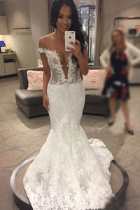 Trumpet/Mermaid Lace Off-the-Shoulder Long  Wedding Dress