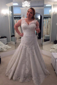 A-Line/Princess Lace V-neck Plus Size Wedding Dresses