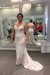 Court Train V-neck Sleeveless Plus Size Wedding Dresses