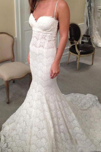 Spaghetti Straps Sweetheart Lace Sweep Train Wedding Dresses