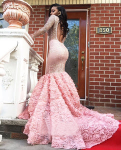 Trumpet/Mermaid Beading Long Sleeves Prom Dresses