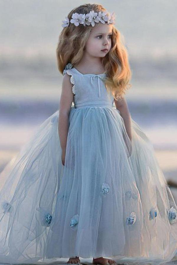 Tulle Sleeveless Flower(s) Flower Girl Dresses