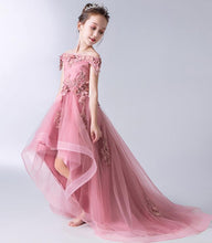 Off-the-Shoulder Appliques Lace Asymmetrical Flower Girl Dresses