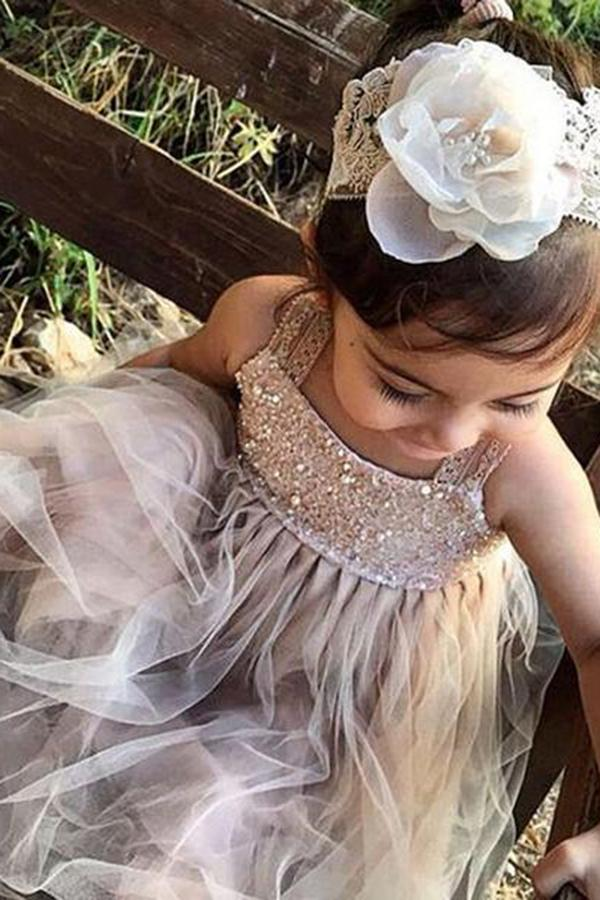 Tulle Beading Sleeveless Flower Girl Dresses