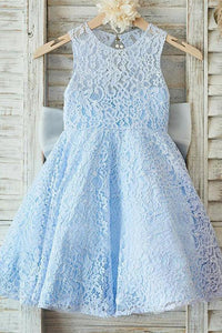 Lace A-Line/Princess Bow(s) Sleeveless Flower Girl Dresses