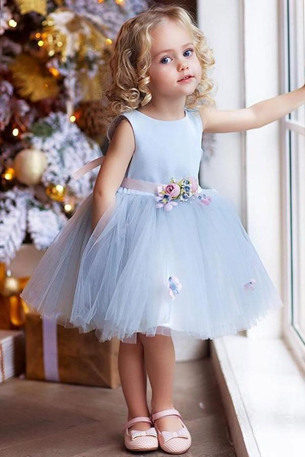 Tulle Short Scoop Neck Flower Girl Dresses
