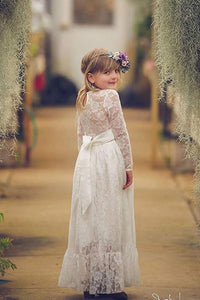 Lace  Long Sleeves Floor-Length Flower Girl Dresses
