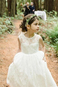 Scoop Neck Lace Long Flower Girl Dresses
