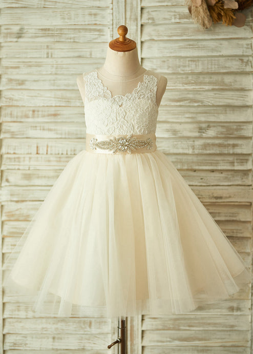 Lace Sleeveless Tulle Flower Girl Dresses